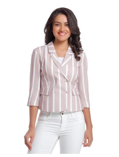 Light Pink Striped Blazer
