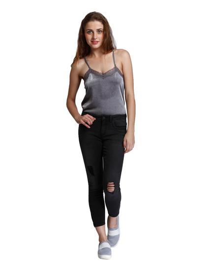 Black Regular Waist Skinny Fit Ripped Jeans