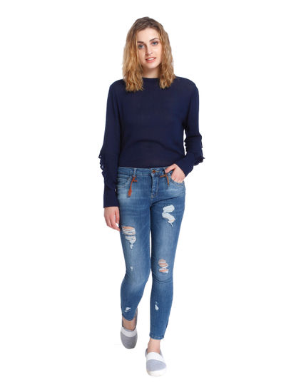 Blue Distressed Ankle Zip Mid Rise Regular Fit Jeans