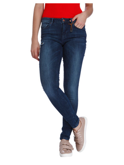 Dark Blue Ripped Super Low Skinny Fit Jeans
