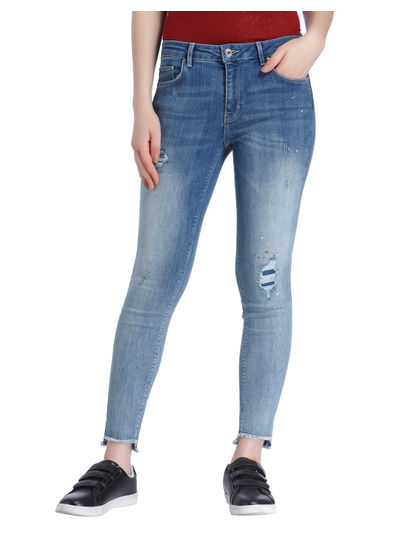 Blue Patchwork Mid Rise Regular Fit Jeans