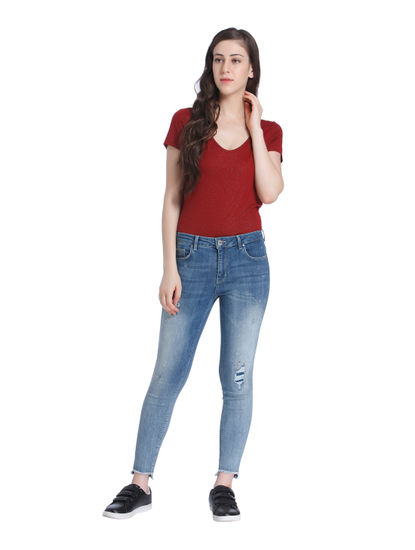 Blue Patchwork Mid Rise Regular Fit Jeans