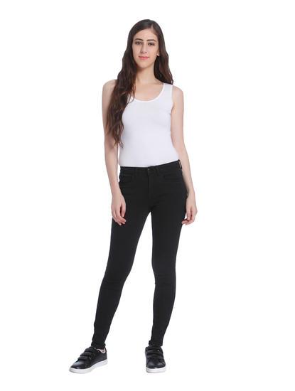 Black Mid Rise Slim Jeans