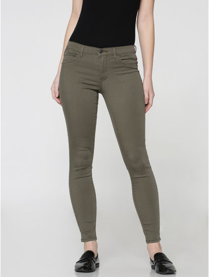Grey Low Waist Skinny Fit Pants