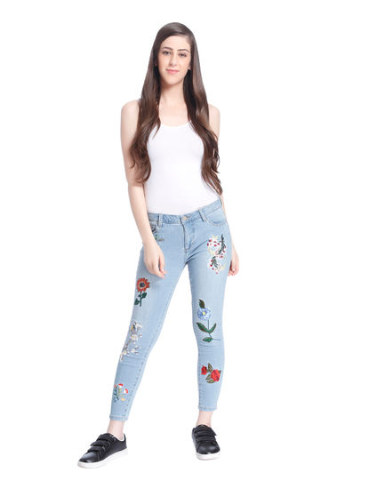 Light Blue Floral Print Regular Waist Skinny Jeans