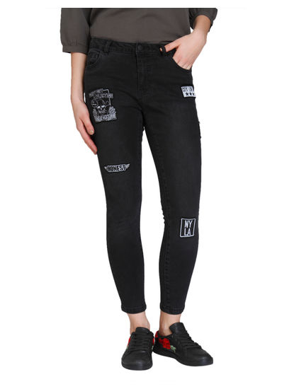 Black Badge Detail Medium Rise Skinny Fit Jeans