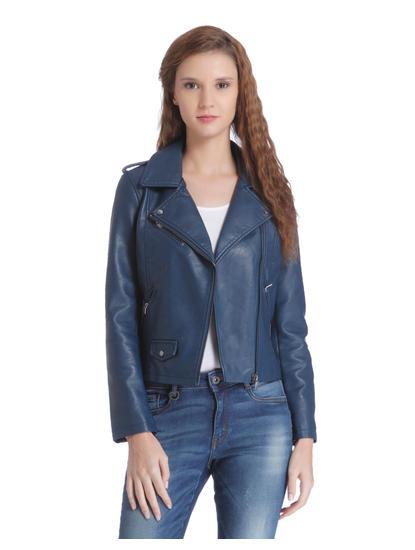 Teal Blue Cropped Biker Jacket