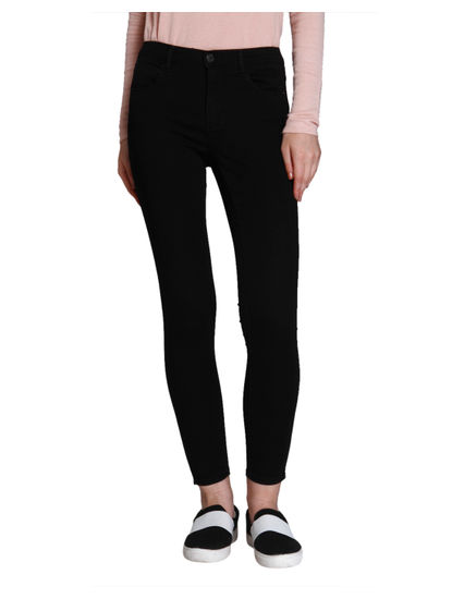 Black Regular Waist Skinny Fit Ankle Length Jeans