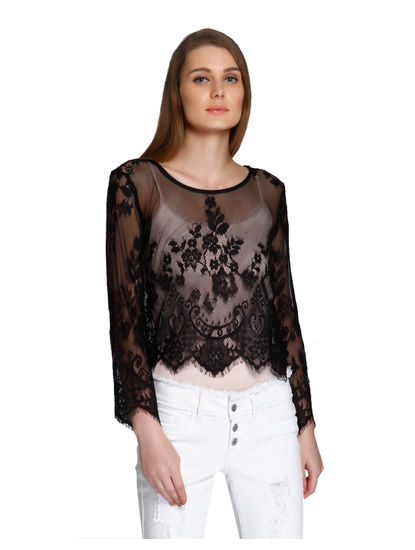 Black Embroidered Mesh Crop Top