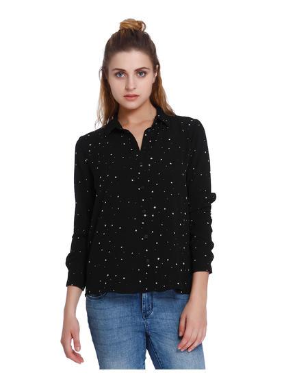 Black All Over Star Print Shirt