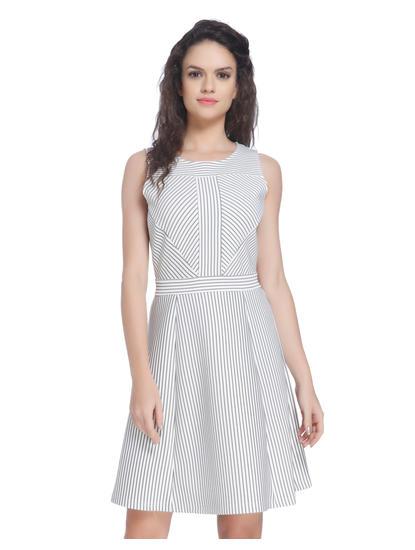 White Printed Skater Dress