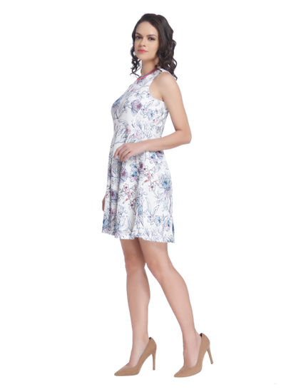 White Skater Dress With An Over All Multicolour Floral Print