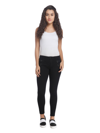 Black Skinny Fit Jeans With Zip Detail