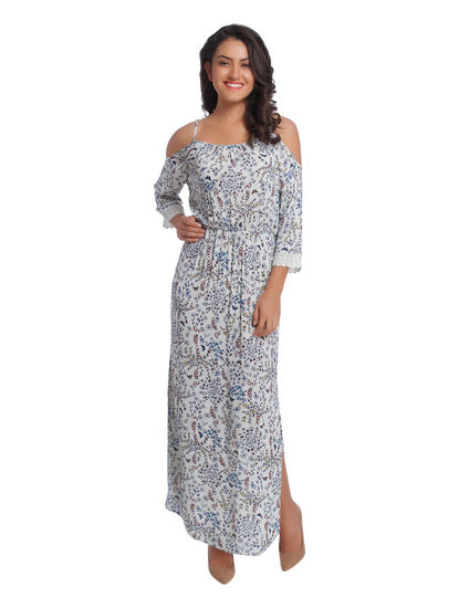 White Printed Cold Shoulder Maxi Dress