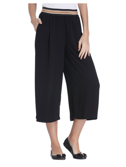 Black Glitter Crop Pants