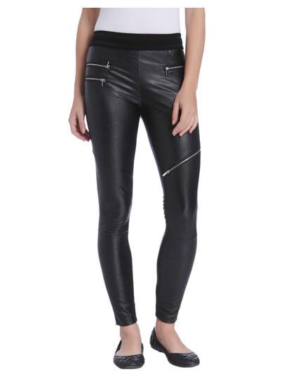 Black PU Zip Detail Pants