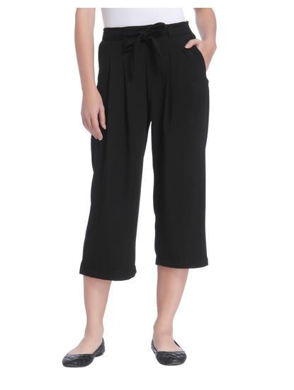 Black Mid Rise Wide Leg Pants