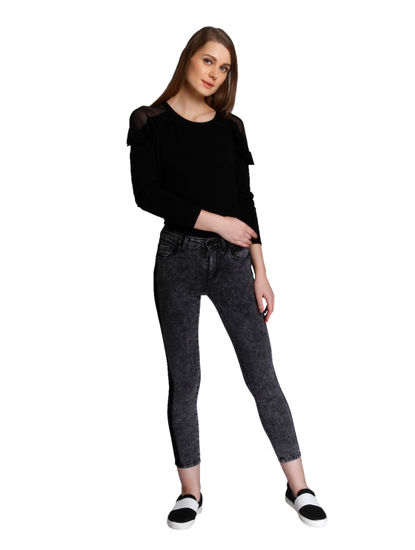 Dark Grey Medium Rise Panel Detail Slim Fit Jeans
