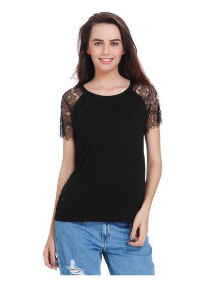 Black Lace Sleeves Top