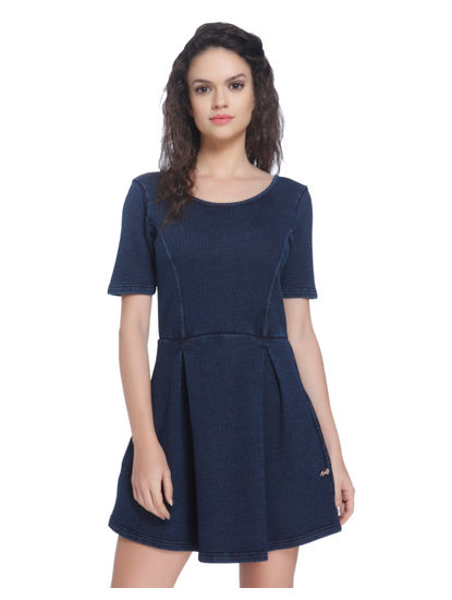 Indigo Pleated Midi Dress