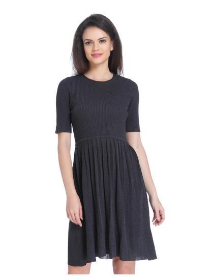 Dark Grey Knit Mini Dress