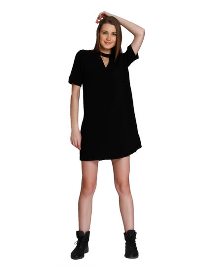 Black Choker Neck Mini Dress