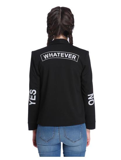 Slogan Print Black Blazer