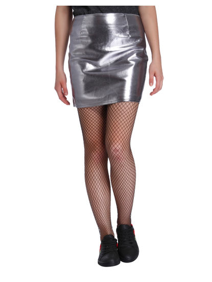 Metallic Silver Faux Leather Mini Skirt