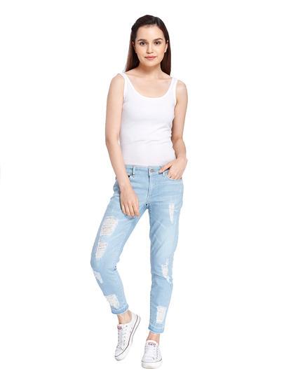 Light Blue Distressed Ankle Length Regular Jeans