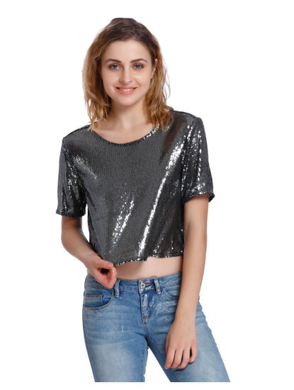 Silver Sequined Crop Top