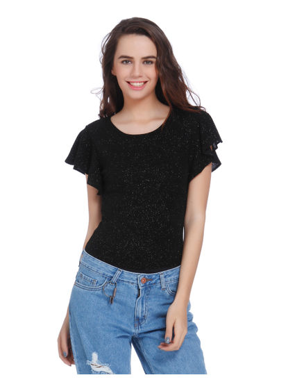 Black Shimmery Cutout Back Top