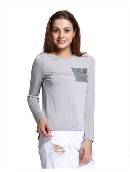 Grey Sequined Pocket T-Shirt