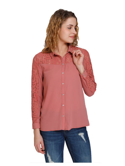 Dark Peach Lace Insert Shirt