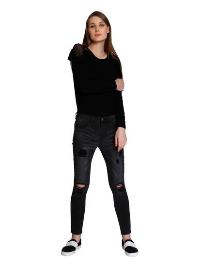 Black Front Knee Split Skinny Jeans