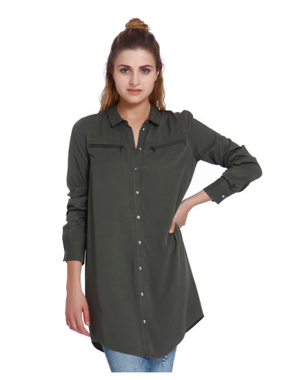 Green Zip Detail Long Shirt