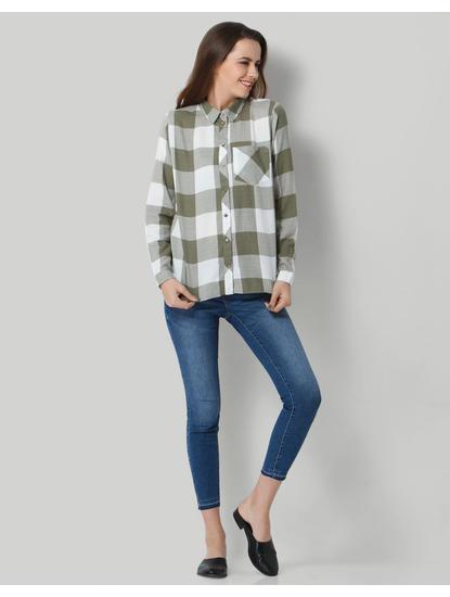 White & Green Check Shirt