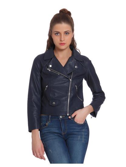 Dark Blue Faux Leather Cropped Biker Jacket