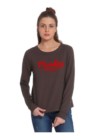Olive Text Print Sweatshirt