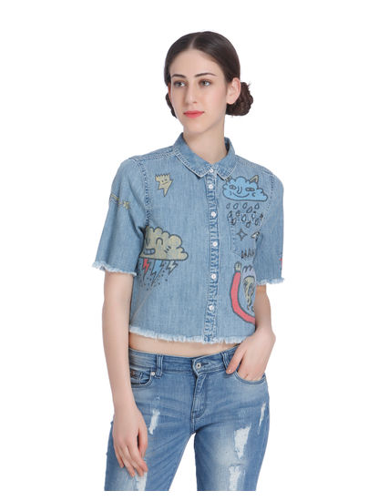 Blue Graphiti Print Cropped Denim Shirt