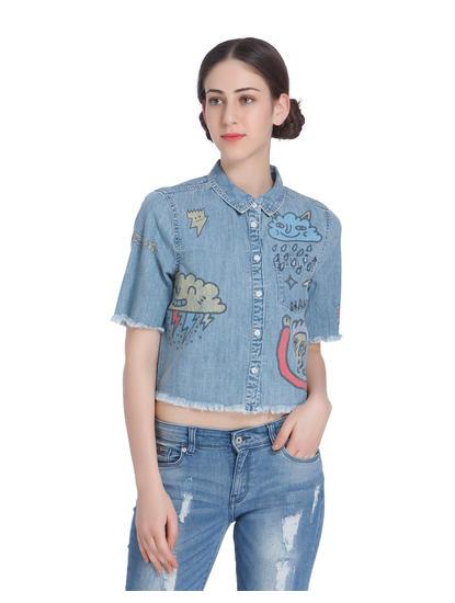 Blue Graphiti Print Cropped Denim Shirt