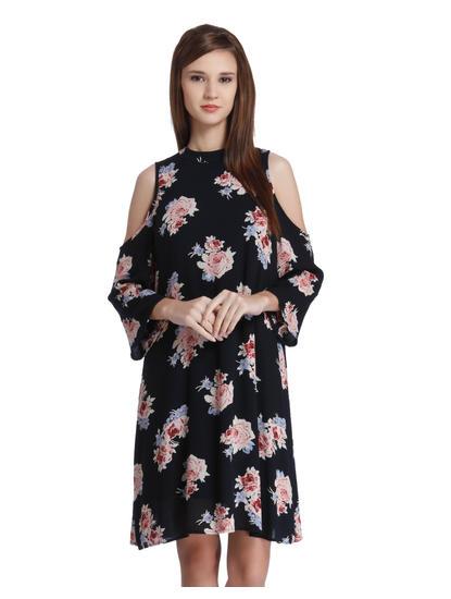 Black Floral Print Cold Shoulder Mini Dress