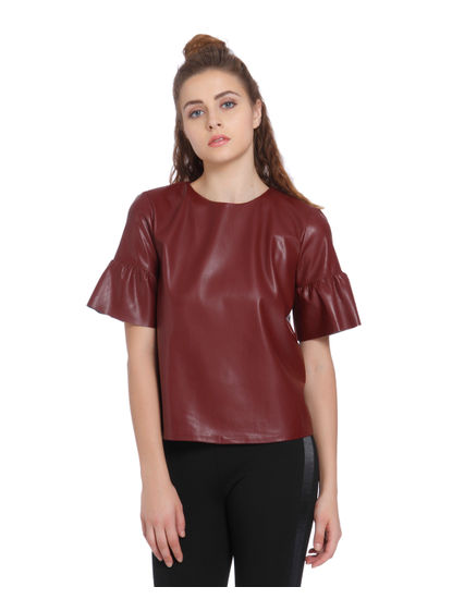 Burgundy Faux Leather Puff Sleeves Top
