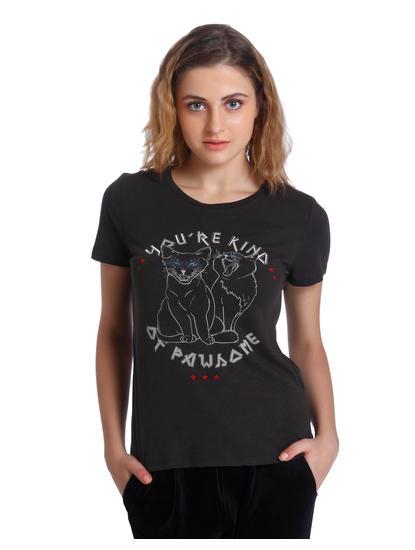Black Cat Print T-Shirt