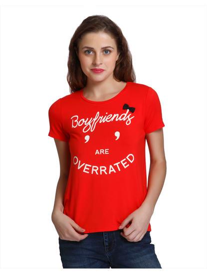 Bright Red Slogan Print T-Shirt