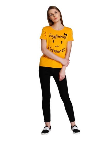 Yellow Slogan Print T-Shirt