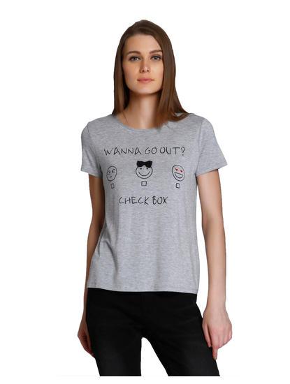 Light Grey Graphic Print T-Shirt