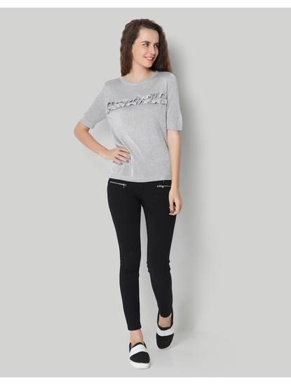 Grey Short Sleeve Ruffle Pullover