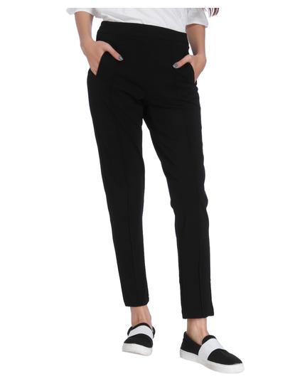 Black Pin Tuck Mid Rise Regular Fit Pants