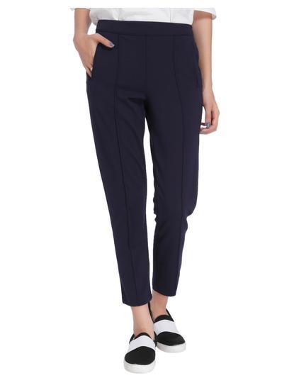 Dark Blue Pin Tucked Mid Rise Pants