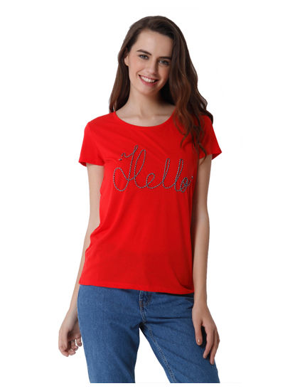 Red HELLO Print T-Shirt